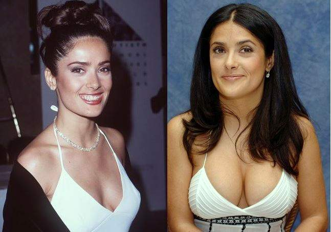 Salma Hayek Before After Plastic Surgery breast implants picture