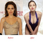 Angelina Jolie Bra Size Before & After Breast Implants