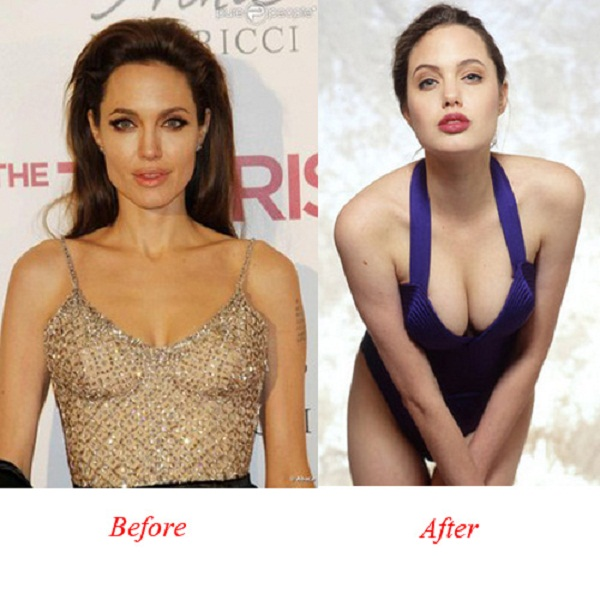 Angelina Jolie Bra Size Before and After Breast Implants
