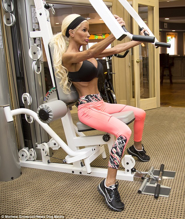 Her at-home gym allows Nanette to exercise for an hour every day to maintain her tiny 18 inch waist